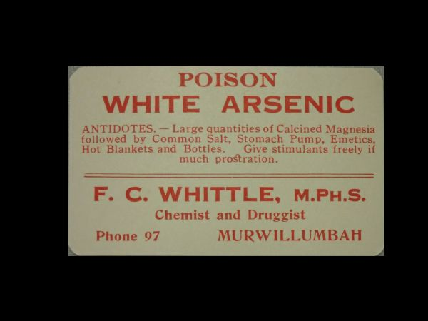 Arsenic bottle label. QM collection.