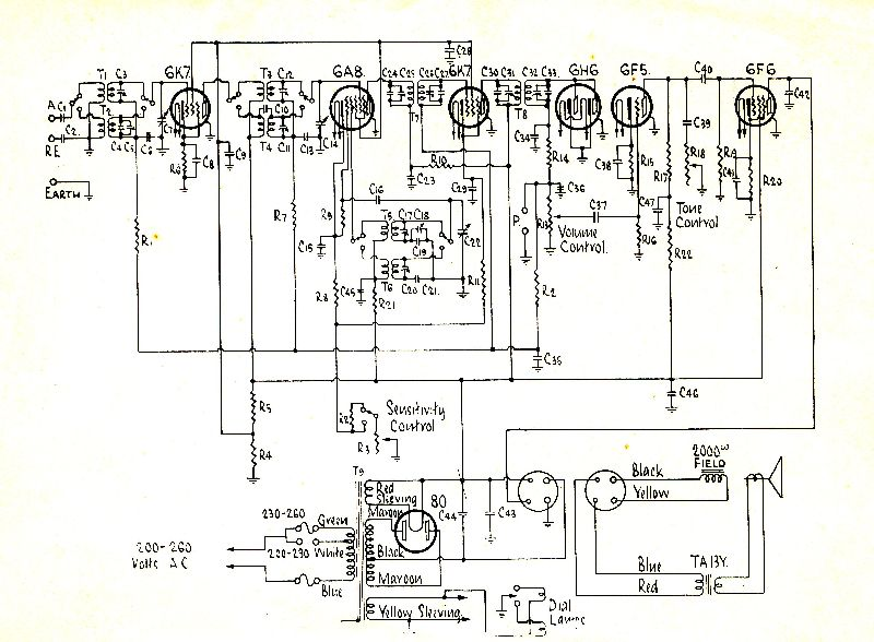 Superheterodyne circuit of the AWA Radiola Model 249.