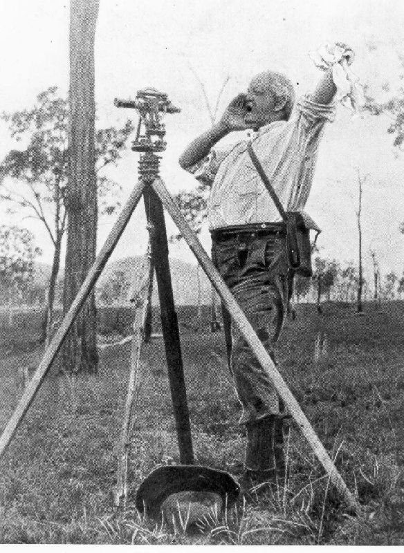Surveyor J.R. Atkinson working in the Cressbrook area