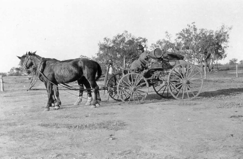 Loaded buck board at Queensland Surveyor H.G.G. Blakeney's camp about 1928.