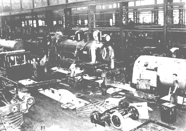 One of the many workshop buildings at Ipswich Railway Workshops was the Steam Shop in this busy scene from c.1950.
