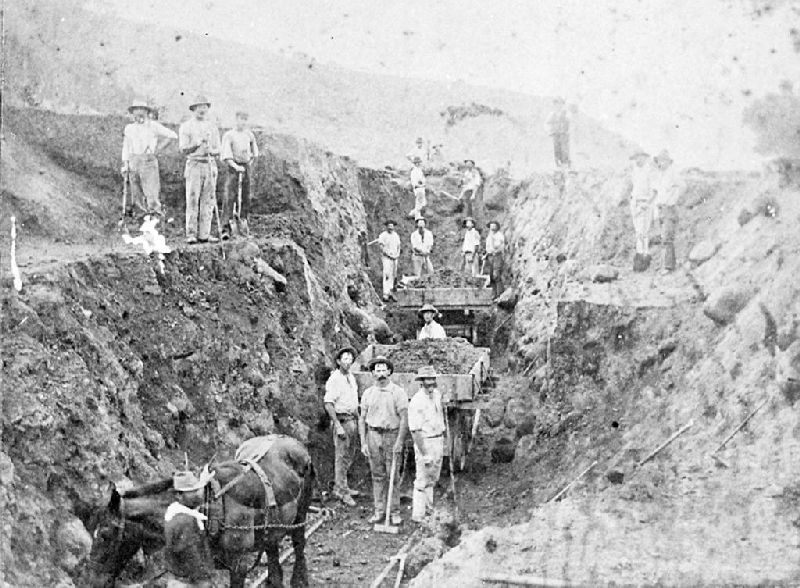 A railway cutting under construction c.1890
